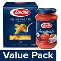 Barilla Durum Wheat Pasta- Penne Rigate 500 g Carton + Pasta Sauce- Arrabbiata 400 g Jar