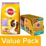 Pedigree Dry Chicken & Rice (Senior) 3kg+Wet Chicken & Liver Chunks (Adult) 80g 15 Packs