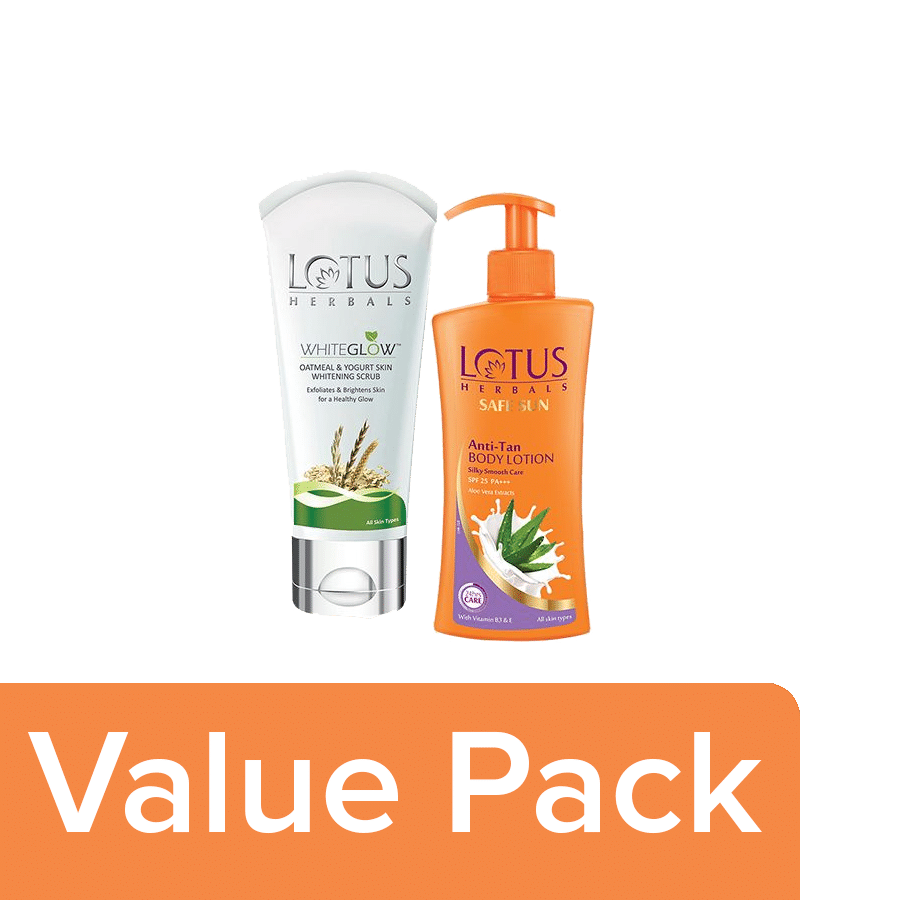 Lotus Herbal Oatmeal Yogurt Scrubsafe Sun Anti Tan Body Lotion Combo 2 Items