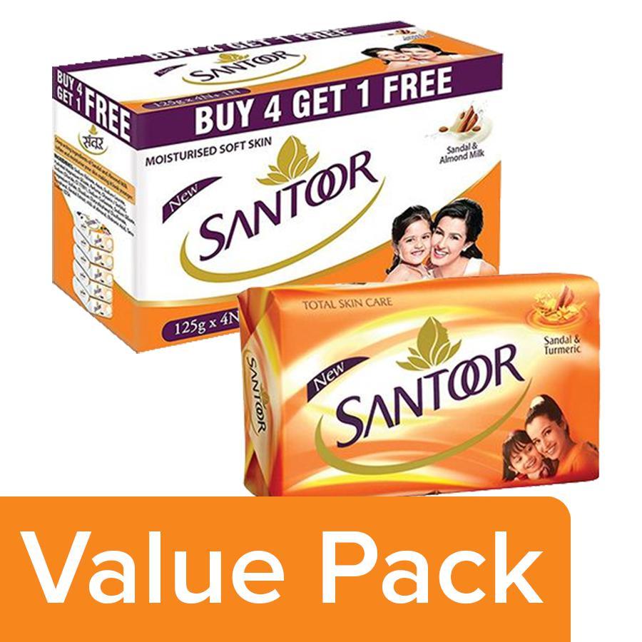 Buy Santoor Sandal & Almond Milk Soap 125g (Buy 4 Get 1 Free) + Sandal &  Turmeric Soap 100g Online at Best Price - bigbasket