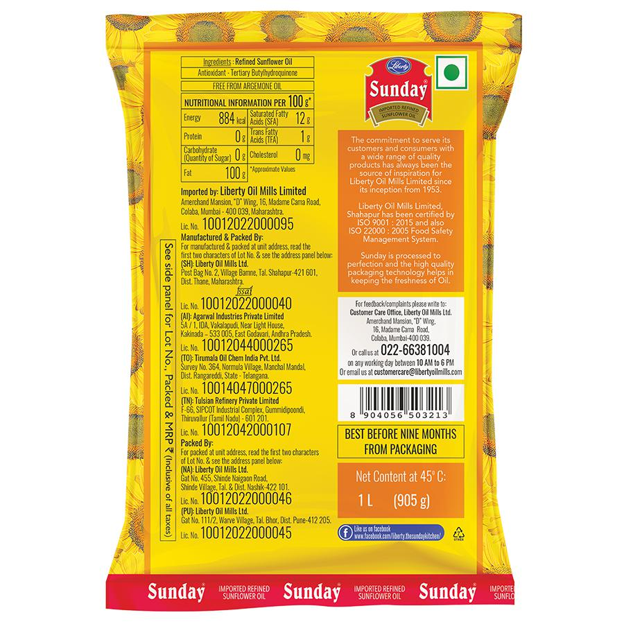 Buy Liberty Sunday Imported Refined Sunflower Oil 1 Ltr Pouch Online At The Best Price Bigbasket