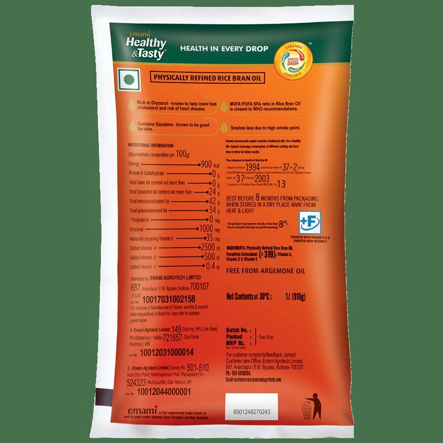 Emami Healthy & Tasty - Rice Bran Oil, 1 L Pouch