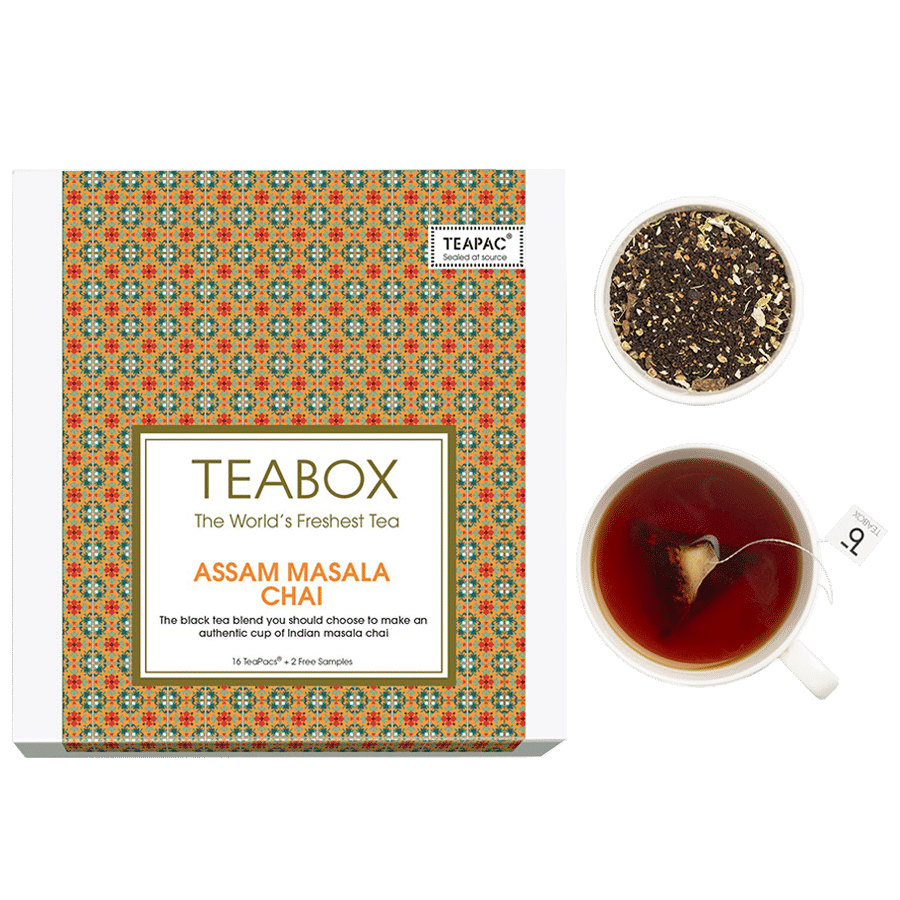 Teabox Assam Masala Chai, 16 Bags x 2 5 g each (40 g, Get +2 Free Samples)