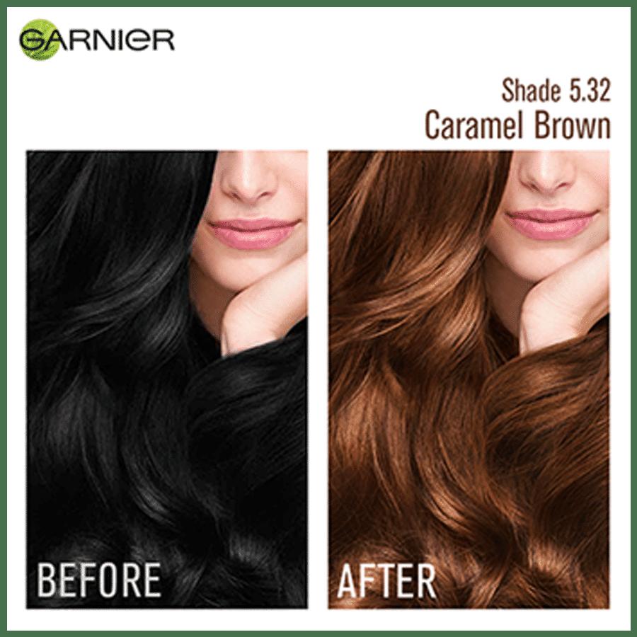 Garnier Color Naturals - Creme Hair Color, 70 ml + 60 g Shade 5.32, Caramel  Brown