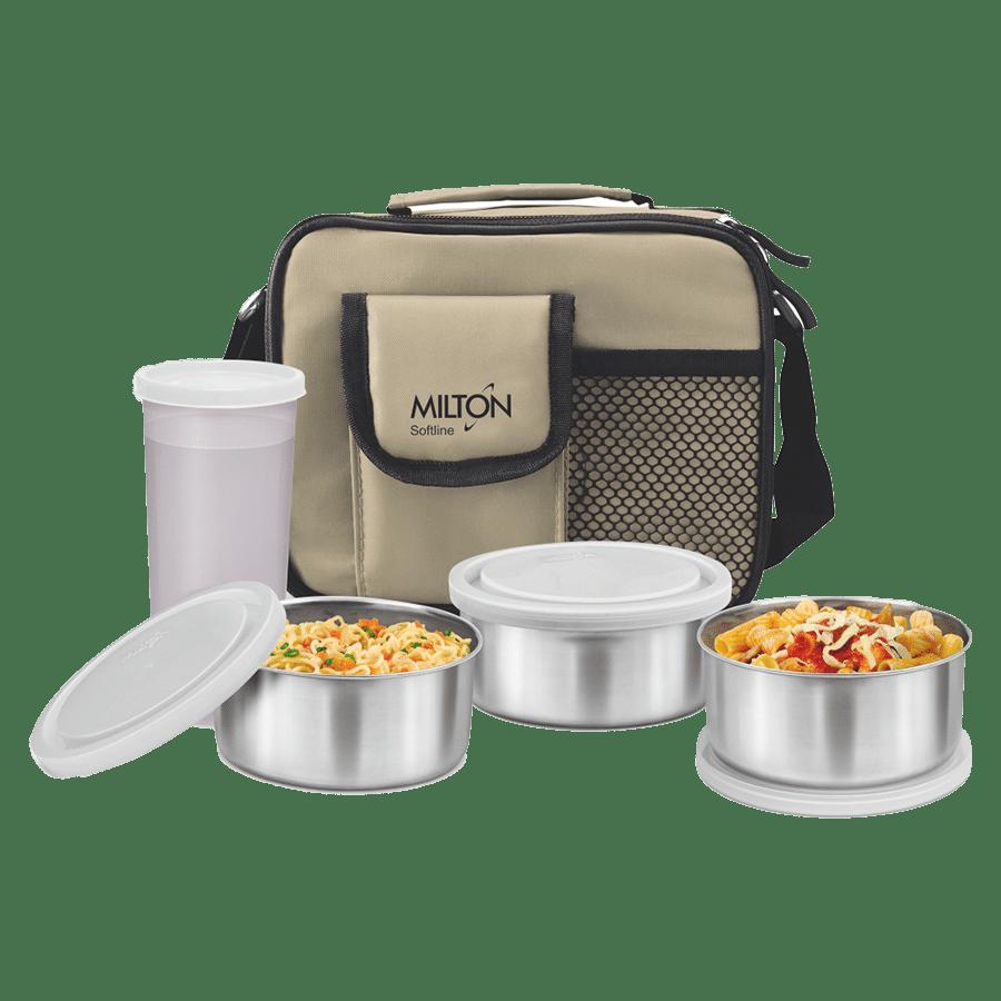Milton Steel Combi Cream Tiffin Box Set - With Bag, 350 ml Set of 4