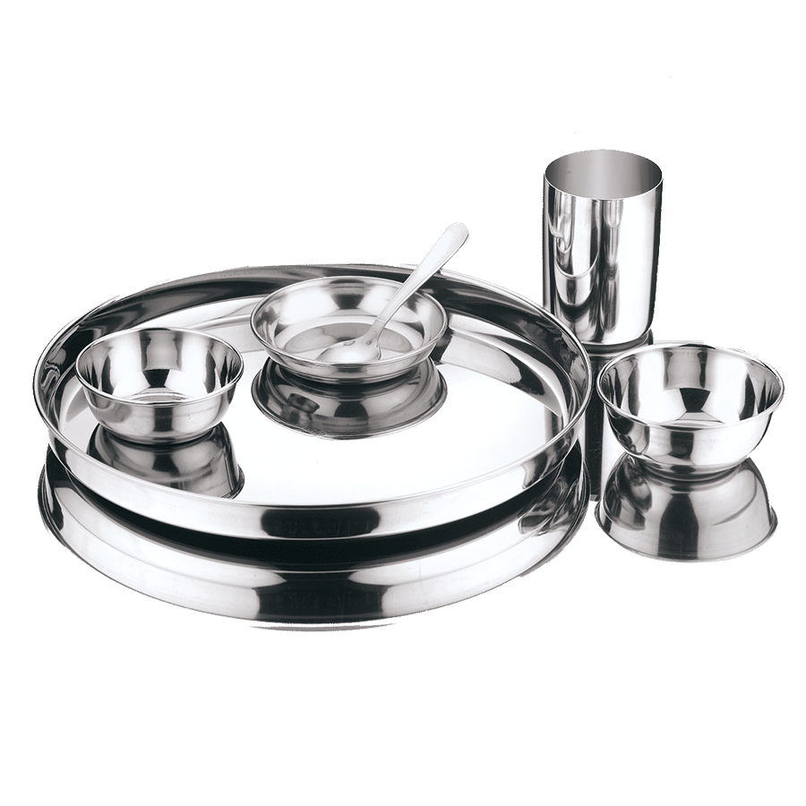 Buy Kitchen Essentials Stainless Steel Dinner Set Mirror Finish
