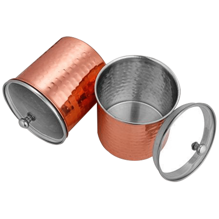 Shri & Sam Storage Canister/Container With Air Tight Glass Lid - Cantera,  Stainless Steel Copper Plating, 1 L (Set of 2)