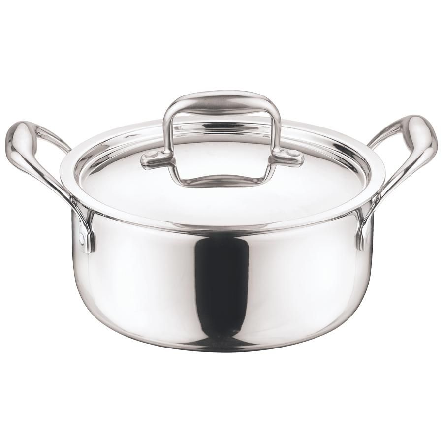 vinod platinum triply stainless steel induction base saucepot casserole with lid 20 cm 3 l